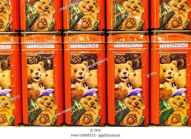 England, London, Knightsbridge, Harrods, Display of Harrods Biscuit Tins