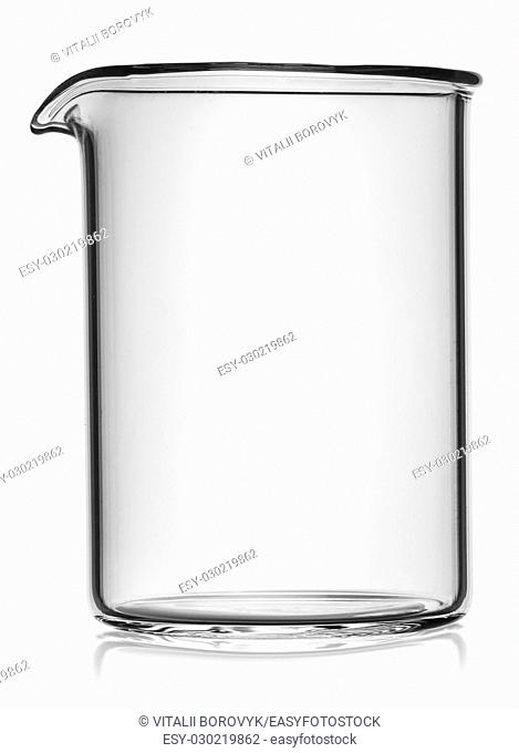 In front beaker without divisions isolated on white background