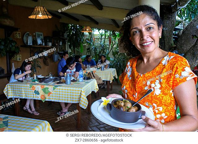 Mauritian creole food prepared and served at the Escale Creole restaurant at Moka near Port Louis in Mauritius. Chefs Majo and Marie-Christine