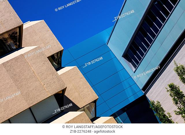 Abstract image of architectural styles of adjacent buildings, Vancouver, Canada
