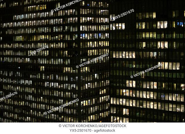 Office building at night. TD bank, Toronto