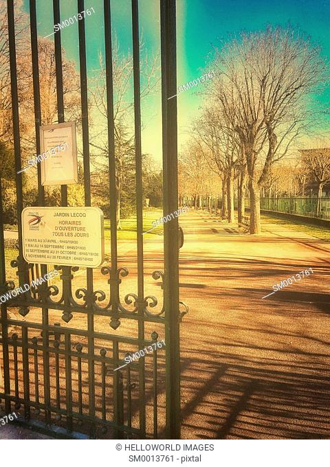 Entrance to Jardin Lecoq, Clermont Ferrand, Auvergne, France, Europe
