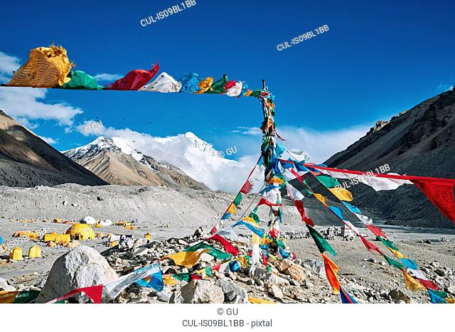 Mantra flags, Everest base camp, Tingri, Xizang, China