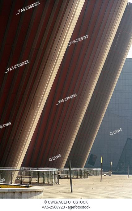 Taiyuan, Shanxi province, China - The view of Taiyuan Museum in the morning, the beautiful building designed by Paul Andreu