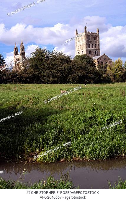 Historic Tewkesbury Abbey in autumn sunshine at Tewkesbury, Gloucestershire, Severn Vale, UK