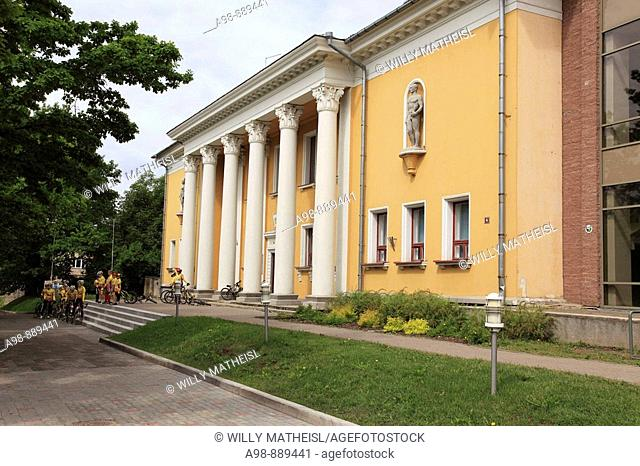 facade of a classicistic building downtown in the city of Viljandi, Estonia, Baltic State, Eastern Europe