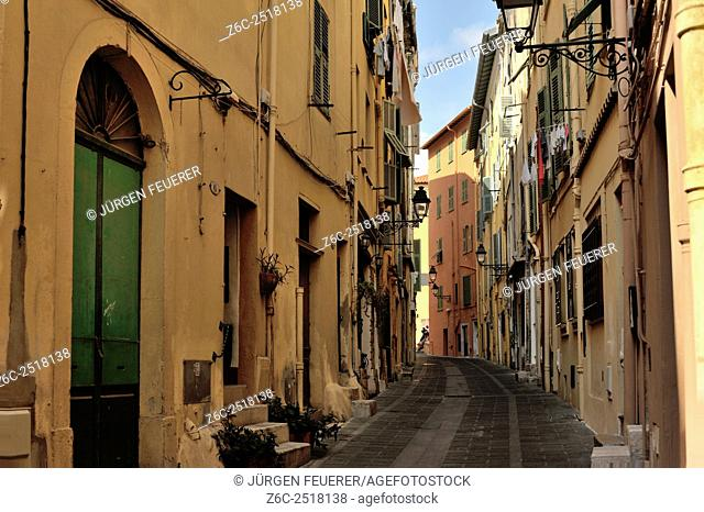 Picturesque town Menton at the French Riviera, unfar border to Italy, Alpes-Maritimes, French Alps, France