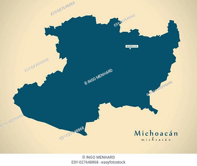 Modern Map - Michoacan Mexico MX illustration