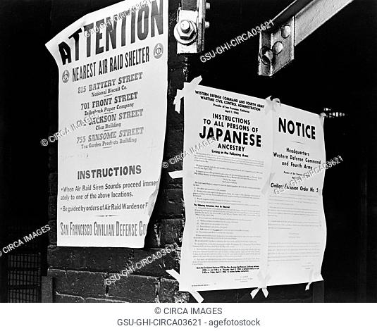 Civilian Exclusion order #5, Directing Removal by April 7 of Persons of Japanese Ancestry, First and Front Streets, San Francisco, California, USA, April 1942