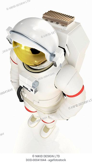 Model of astronaut in spacesuit, high angle view