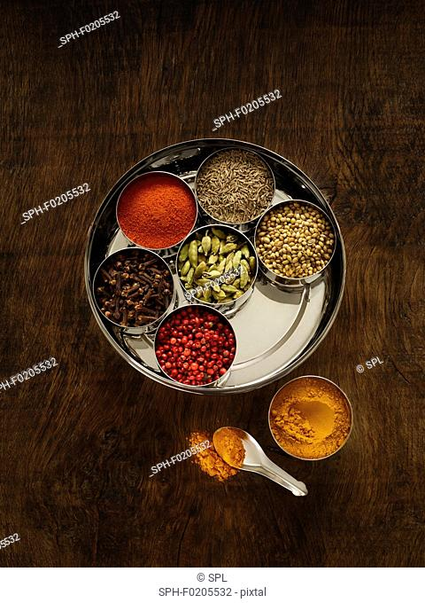 Selection of dried spices in dishes