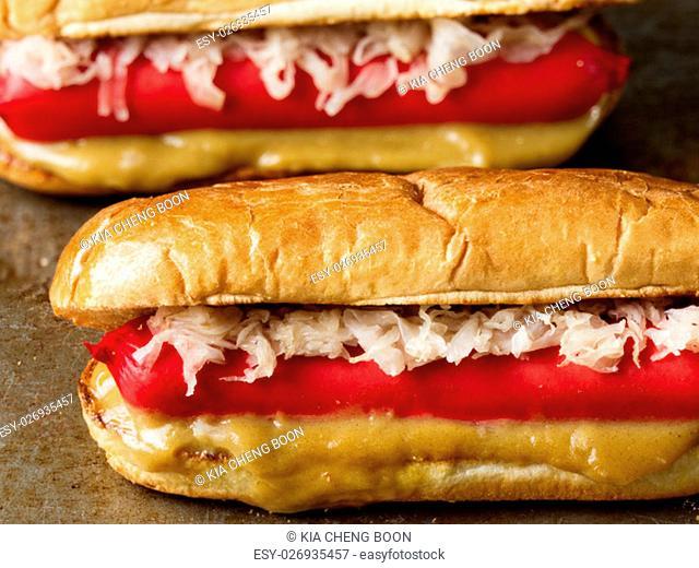 close up of rustic american hotdog