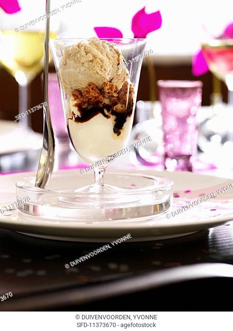 An ice cream sundae with whipped cream, espresso, Amaretti and hazelnut ice cream
