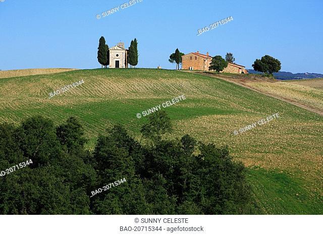 church capella di Vitaleta near San Quirico d'Orcia, Crete, Tuscany, Italy