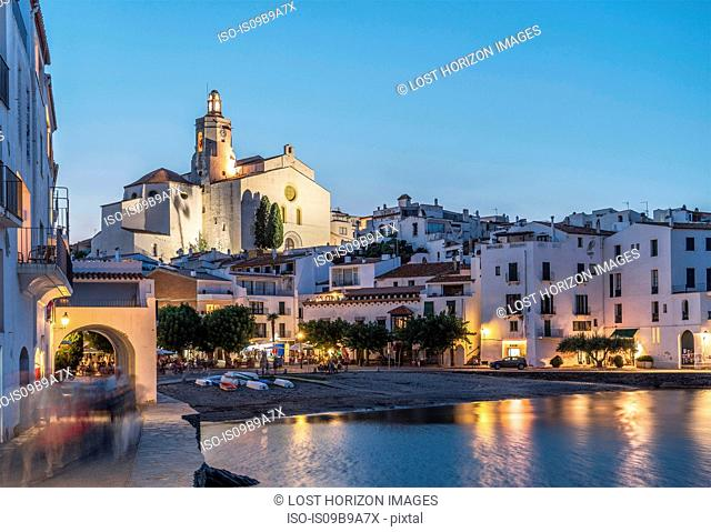 Village of Cadaques at dusk, on the Costa Brava, Spain