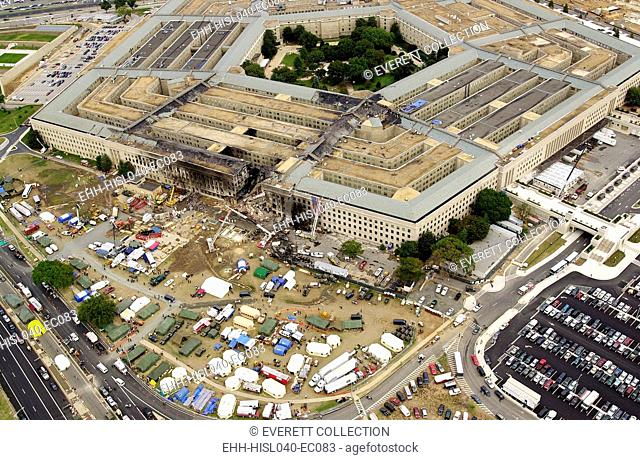 Aerial view of the Pentagon on Sept. 14, 2001, three days after 9-11 attacks. American Airlines Flight 77 crash caused severe damage to the outer ring of the...