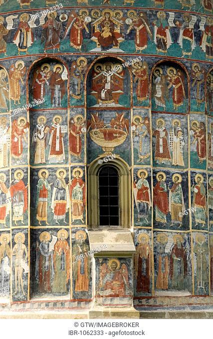 Exterior frescoes, monastery of Sucevita, UNESCO World Heritage Site, Southern Bukovina, Moldova, Romania, Europe