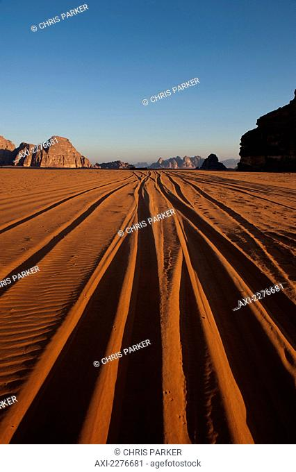 A maze of monolithic rockscapes rising up from the desert floor, Wadi Rum; Jordan