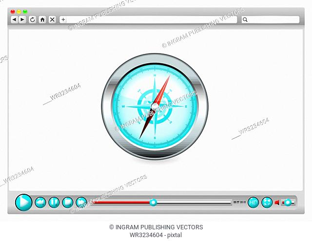 Internet web browser concept with compass navigation icon