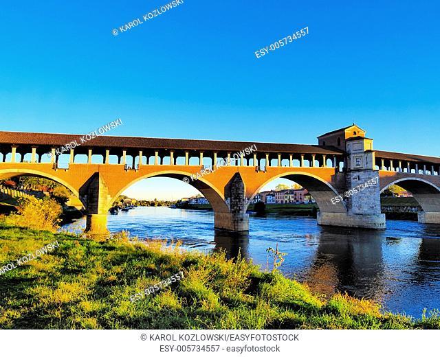 Ponte Coperto, bridge in Pavia, Lombardy, Italy