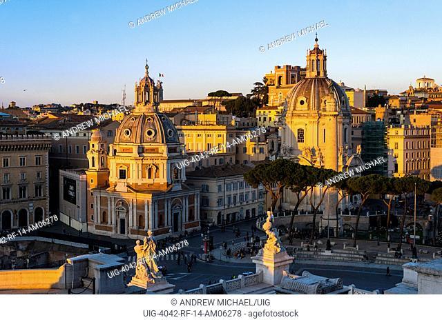 Piazza Venezia central hub of Rome where several thoroughfares intersect, including the Via dei Fori Imperiali and the Via del Corso. Italy