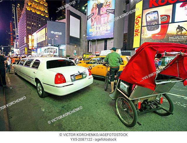 Rickshaw driving on Times Square in New York