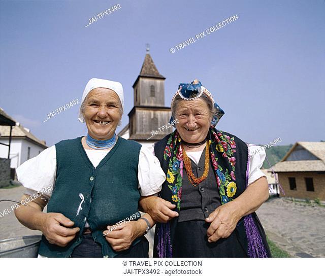 Local Elderly Women Dressed in Traditional Costume, Holloko, Hungary