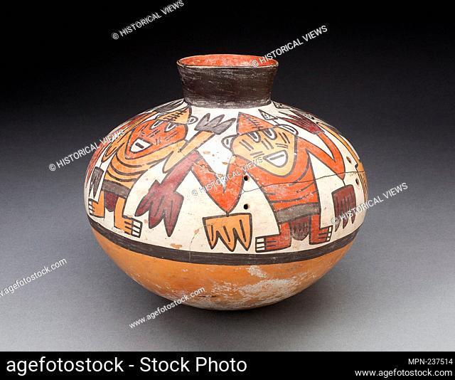 Jar with Narrowed Neck Depicting Figures with Plant Motifs as Hands and Arms - 180 B.C./A.D. 500 - Nazca South coast, Peru - Artist: Nazca, Origin: Peru
