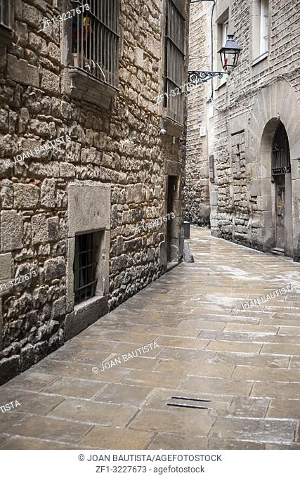 Ancient street in Jewish quarter of Gothic quarter of Barcelona
