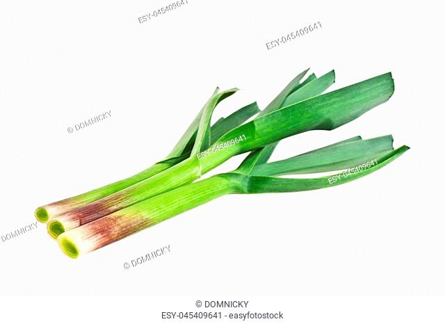 Young green garlic leaves isolated on a white background