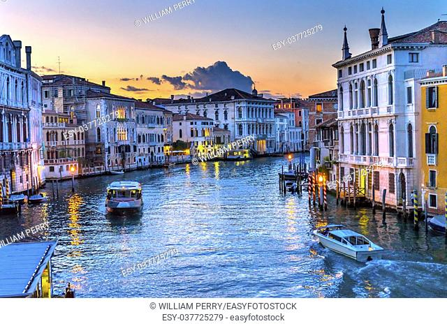 Colorful Grand Canal From Ponte Academia Bridge Buildings Ferry Boats Reflections Venice Italy