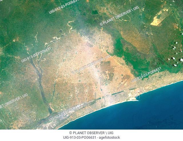 Colour satellite image of Lome, Togo. Image taken on December 25, 2013 with Landsat 8 data