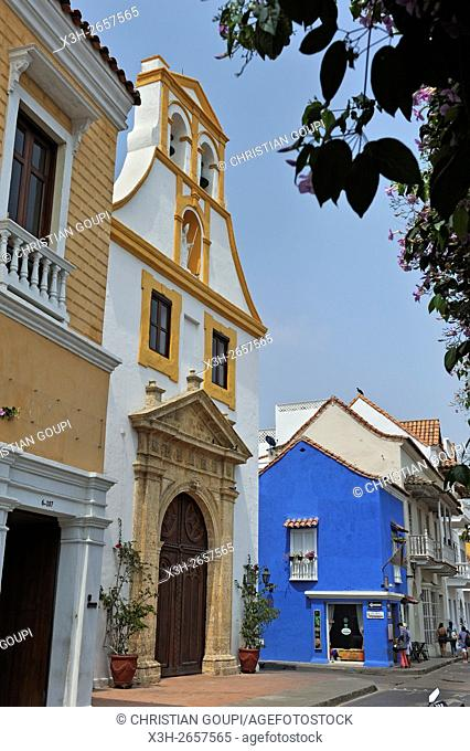 Santo Toribio Church, Sangerto Mayor street in downtown colonial walled city, Cartagena, Colombia, South America