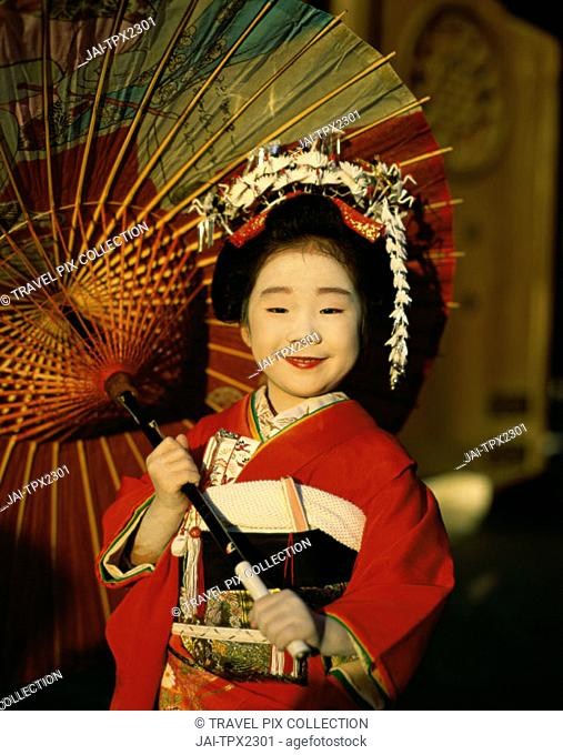 Festival for Seven, Five, Three Year Old Children (Shichi-go-san) / Girl Dressed in Kimono, Tokyo, Honshu, Japan