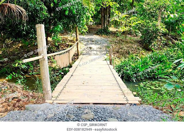 bamboo bridge in countryside