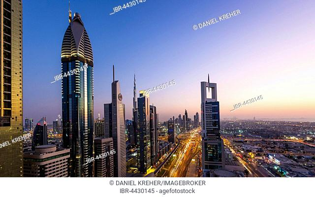 View of sunset from Four Points by Sheraton, skyline and Sheikh Zayed Road, Downtown Dubai, United Arab Emirates