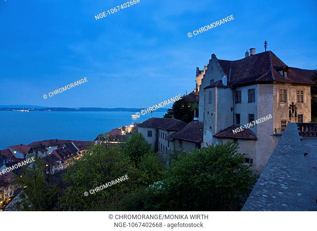 Burg Meersburg, Old Castle in the evening light, Meersburg, Lake Constance, Baden-Wuerttemberg, Germany, Europe