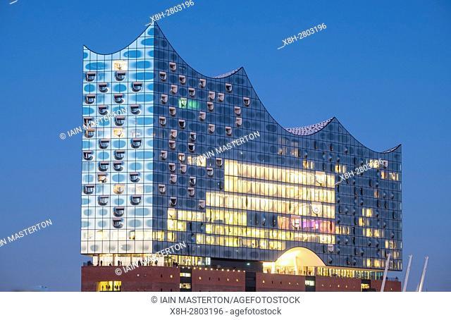 Elbphilharmonie, Hamburg, Germany; View of new Elbphilharmonie opera house in Hamburg, Germany