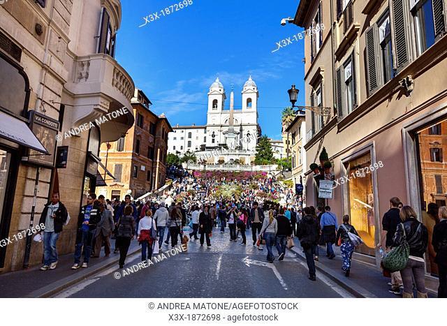 Via Condotti and Piazza di Spagna Rome Italy