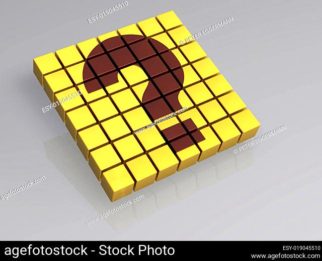 Würfel - Fragezeichen - isoliert - 3D
