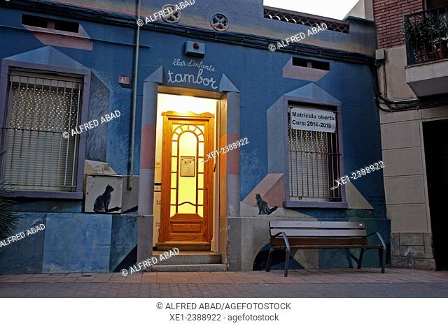 Decorated wall of nursery school, Molins de Rei, Catalonia, Spain