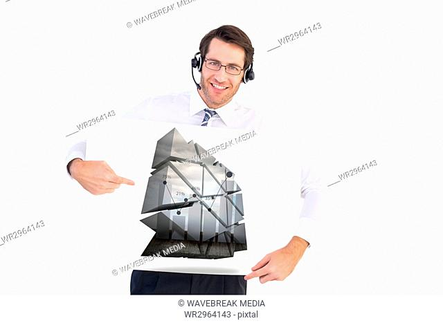 Businessman with hands free kit holding plans