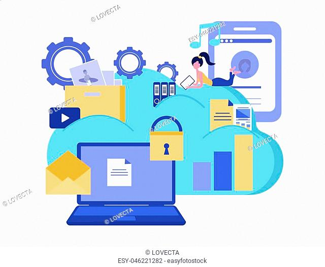 Cloud computing services and technology. Cloud storage. Data protection. Business concept. Vector illustration