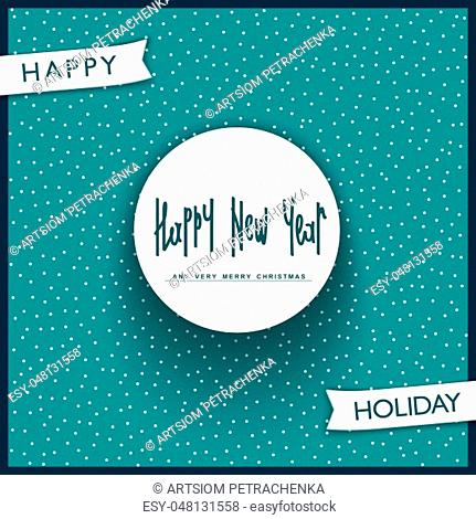 Happy New Year 2018. Trendy label with handwritten lettering. Vector design elements