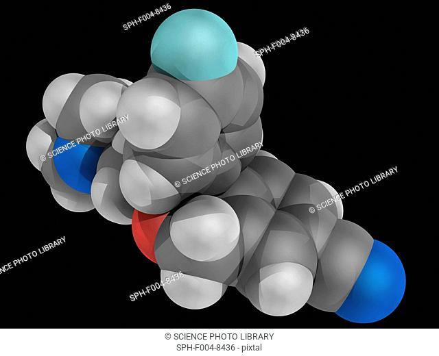 Escitalopram, molecular model. Antidepressant of the selective serotonin reuptake inhibitor class. Used in the treatment of major depressive disorder and...