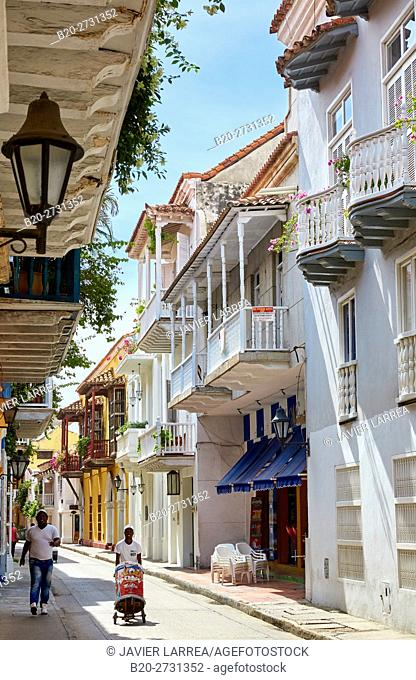 Colonial architecture, Cartagena de Indias, Bolivar, Colombia