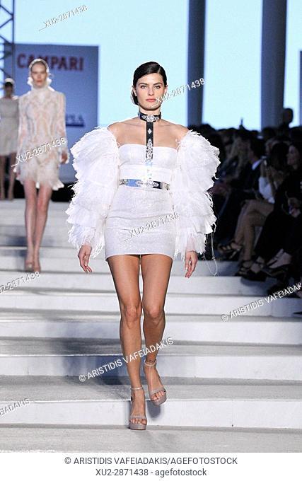Brazilian supermodel ISABELI FONTANA on the catwalk for the Celia Kritharioti show in Stavros Niarchos Cultural Centre. Greek designer Celia Kritharioti present...