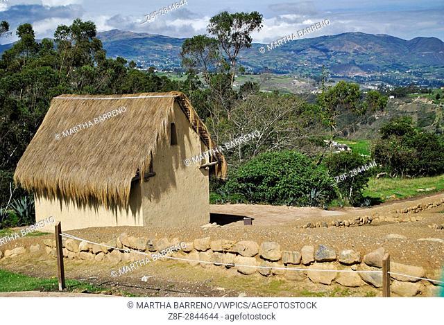 Replica of inca house, in Inca Ruins. Ingapirca. Ecuador