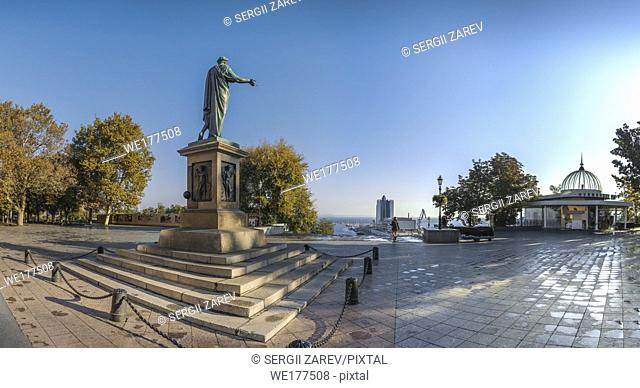 Odessa, Ukraine - 10. 12. 2018. Panoramic view of Odessa seaside boulevard and sculpture of the founder of the city щn a sunny autumn morning