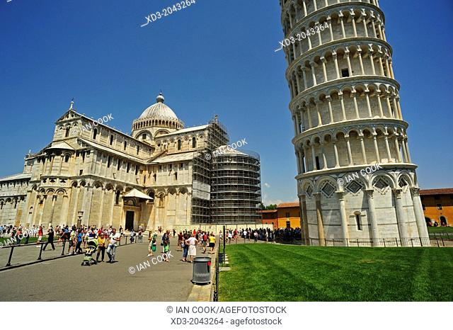 Bell Tower or Leaning Tower of Pisa and Duomo, Piazza dei Miracoli or Piazza del Duomo, Pisa Italy